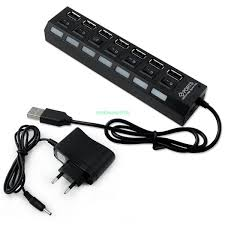 USB 2.0,  7 Ports Hub with power adapter/ Individual switch.