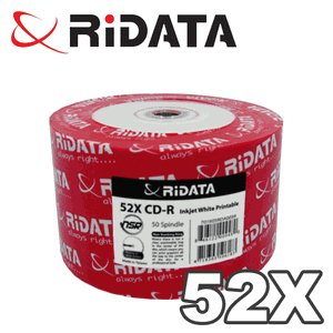50 Pack Spindle 52speed CD-R Inkjet White Printable