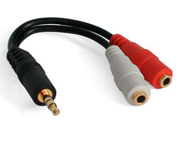 6in. Headphone/sound Jack Y cable (Model-MUY1MFF)