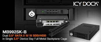 "Full Metal 2 Bay 2.5"" SATA/SAS HDD & SSD Mobile Rack for External 3.5"" Drive Bay"