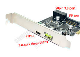 USB3.1/Type-C PCIe card with 20pins USB3.0 internal port adapter.