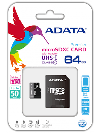 Premier 64GB microSDXC UHS-I Class 10 with Adapter.